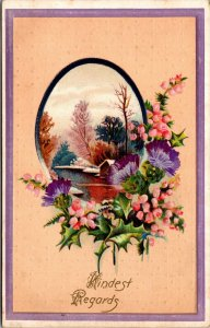 Kindest Regards - HOUSE SCENE - Purple Pansy Floral Flower vintage Postcard