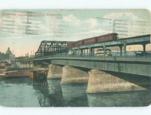 Divided-Back TRAIN ON CHARLESTOWN BRIDGE Boston Massachusetts MA d4996