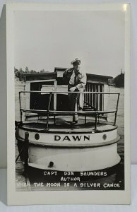 Capt Don Saunders Author Moon Is A Silver Canoe Ship Dawn La Crosse WI RPPC