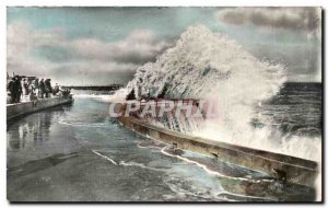 Old Postcard Dieppe Sea A Beautiful Spectacular Maree Full