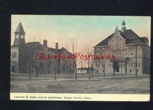 EAGLE GROVE IOWA LINCOLN & HIGH SCHOOL BUILDING ANTIQUE VINTAGE POSTCARD