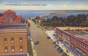 P1268 vintage unused postcard birds eye view cars causeway clearwater florida