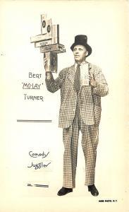 New York NY Burt Mo-Lay Turner Comedy Juggler Cigar Boxes RPPC Postcard