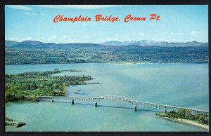 New York CROWN POINT Aerial View of Champlain Bridge Chimney Point - Chrome