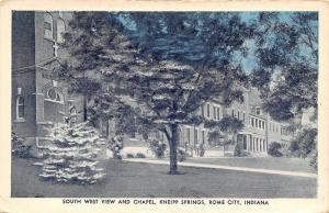 Rome City Indiana~Kneipp Springs~South West View~Chapel~1940s Blue Sky Postcard