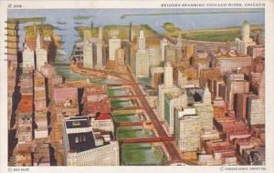 Illinois Chicago Bridges Spanning Chicago River 1949