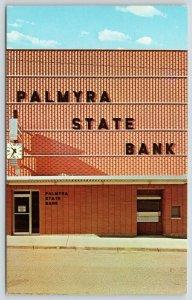 Palmyra Missouri~Palmyra State Bank~Square Face Clock~1950s Postcard