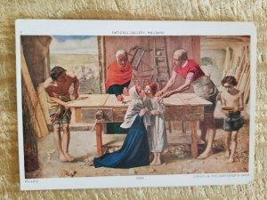 CHRIST AT THE CARPENTER'S SHOP-MILLAIS.VTG UNUSED POSTCARD*P10