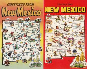New Mexico Greetings From 2x Map Postcard s