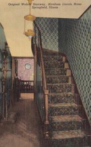 Illinois Springfield Abraham Lincoln Home Original walnut Stairway Curteich