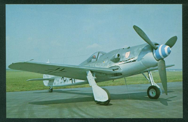 Focke Wulf FW-190 Junkers Jumo Engine Fighter Airplane WWI Aircraft Postcard