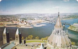 Inter-provincial bridge, from Peace Tower,  Ottawa,  Ontario,  Canada,  40-60s