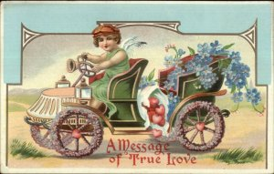 Valentine - Cupid Driving Car Filled w/ Flowers c1910 Postcard #2