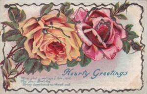 Hearty Greetings With With Pink Roses