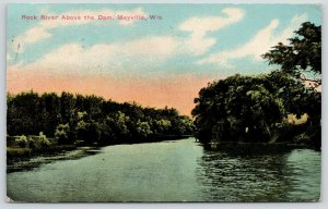 Mayville Wisconsin~Sun Rises Over the Rock River above Dam~1914 Postcard