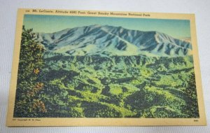 Postcard TN Mt. LeConte Great Smoky Mountains National Park Vtg Linen View F7