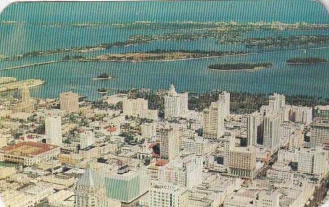 Florida Miami Birds Eye View Of Downtown 1965