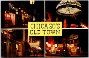 Chicago, Illinois Postcard CHICAGO'S OLD TOWN Multi-View Wells Street Scenes