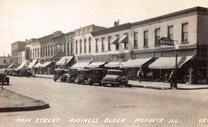 Main St, Business Block, Mendota, Illinois, Early Real Photo Postcard, Unused