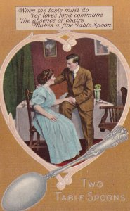 TWO TABLE SPOONS, 1900-10s; Couple Spooning in the Diing Room, Poem