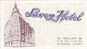 ARGENTINA BUENOS AIRES SAVOY HOTEL VINTAGE LUGGAGE LABEL