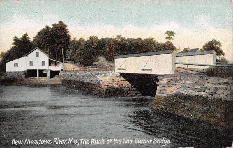New Meadows River Maine~Gurnet Shelter Wall Bridge~Tide Rush~House~1910 PC