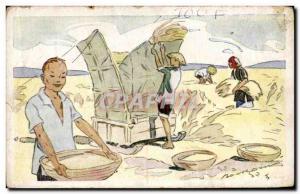 Old Postcard Rice D Indo China S Rice threshing