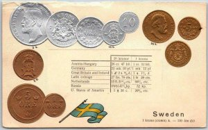 Vintage SWEDEN Embossed Greetings Postcard COINS / Currency Conversion Chart