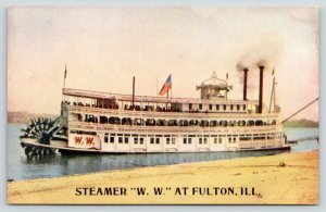 Fulton IL~Paddlewheel Steamer Close~SS WW~Twin Smokestacks~Mississippi River '10
