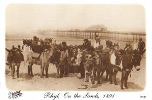 North Wales Postcard Rhyl, On The Beach, Donkeys, Francis Frith Repro Card Y89