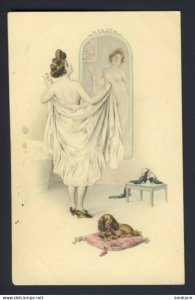 Nude Lady looking into mirror dog - M.M. Vienne # 412 - (R. Rossler) RR artist