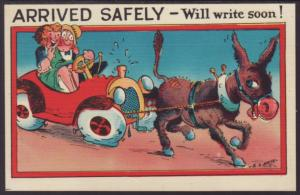 Arrived Safely,Donkey Pulling Car,Comic Postcard