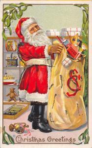 F5/ Santa Claus Merry Christmas Holiday Postcard c1910 Glitter Initials Toys 11