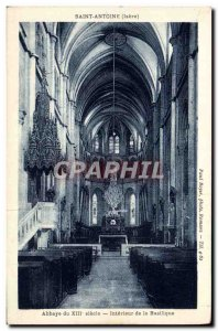 Old Postcard St. Anthony Abbey Xlli century Basilica Interior