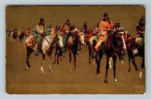 Native Americana - Indians on Horseback Gold Embossed, Vintage c1909 Postcard
