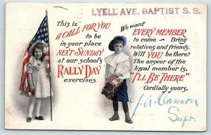 Postcard Patriotic Rally Day Girl Holding Flag Boy With Drum 1909 F03