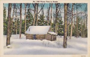 Alaska Log Cabin Winter Scene In Alaska