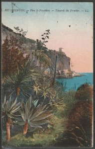 France Menton (Alpes Maritime) view towards the Italian frontier 1921 mailed