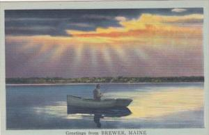 Maine Greetings From Brewer Fishing On The Lake