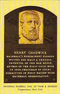 Henry Chadwick National Baseball Hall Of Fame & Museum Cooperstown New York