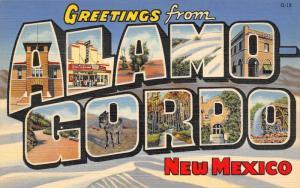 Alamo Gordo New Mexico~Large Letter Linen Postcard~Sands Movie Theater~Burro~'39