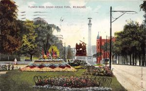 Milwaukee Wisconsin~Grand Avenue Park~Colorful Gardens~Soldiers Monuments~1910