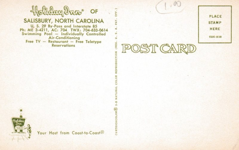 SALISBURY , North Carolina, 50-60s ; Holiday Inn