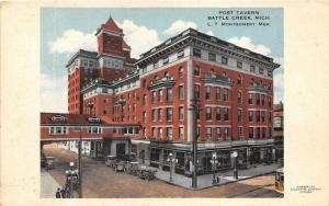 Battle Creek Michigan~Post Tavern~Trolley~Vintage Cars in Street~c1910 Postcard