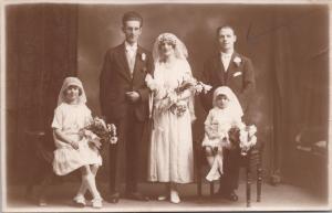 Bride Groom Wedding Party Portrait Girls JA Harding 1923 Real Photo Postcard E32