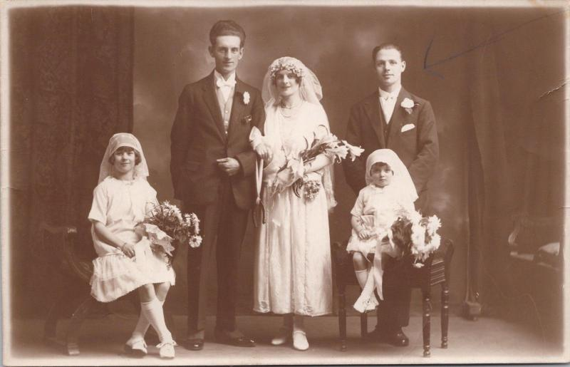 Bride Groom Wedding Party Portrait Girls JA Harding 1923 Real Photo Postcard E32
