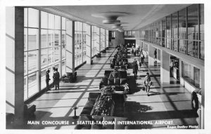 RPPC Main Concourse Seattle-Tacoma International Airport c1950s Vintage Postcard