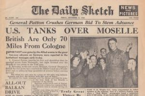 The Daily Sketch 1944 USA Tanks Moselle WW2 ORIGINAL War Newspaper