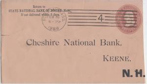 STATE NATIONAL BANK OF BOSTON MASS - 1888 - Embossed envelope / KEENE NH