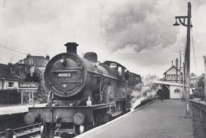 Engine 40563 Bournemouth Train at Blandford Forum Station 1962 Railway Postcard